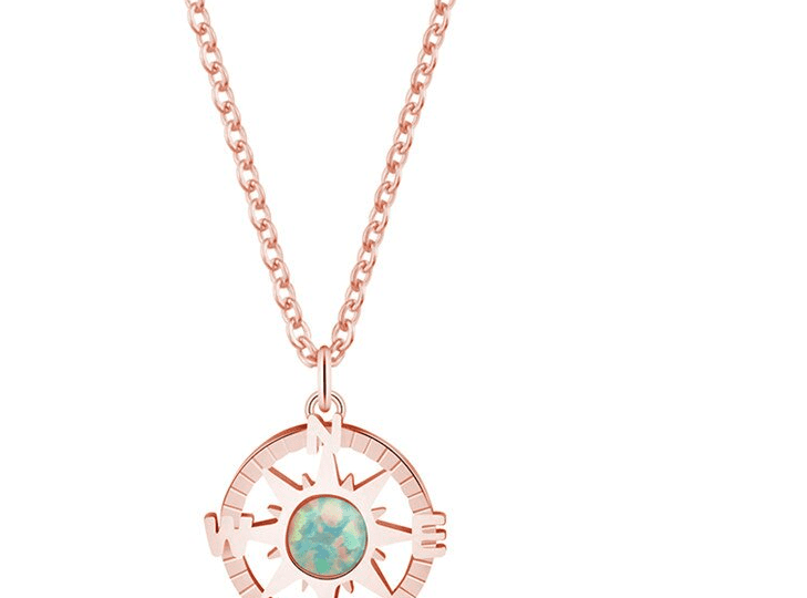 Megan's signature rose-gold plated compass necklace